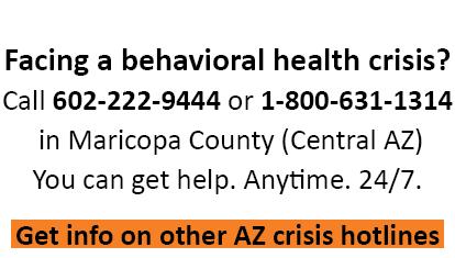 اتصل برقم 602-222-9444 إذا كنت تواجه أزمة متعلقة بالصحة السلوكية.